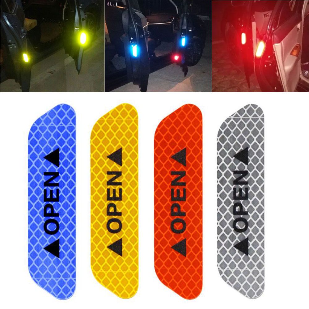 4Pcs/Set Car Door Stickers Safety Reflective Tape Open Sign Warning Mark Car Door Stickers Accessory Diamond Fluorescent