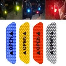 Porta do carro de segurança aberta fitas reflexivas sinal parada emergência adesivos aviso marca exterier diamante fluorescente 4 pçs/set