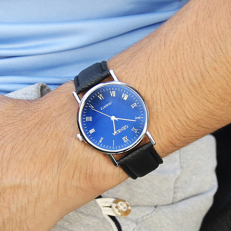 Luxury Men's 3-Eyes Blue Glass Klockor Herr Mode Business Äkta - Herrklockor - Foto 5