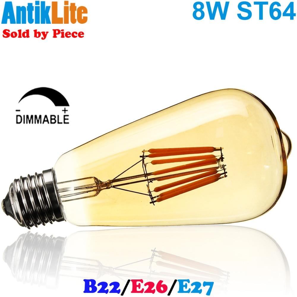 75W/75 W Equal E26 E27 Medium Edison Screw Base/B22 Large Bayonet Cap Teardrop Style ST64 LED Filament Bulb Lamp Light 8W/8 Watt lo not equal пиджак