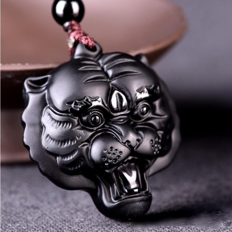 Black Obsidian Tiger Head Necklace