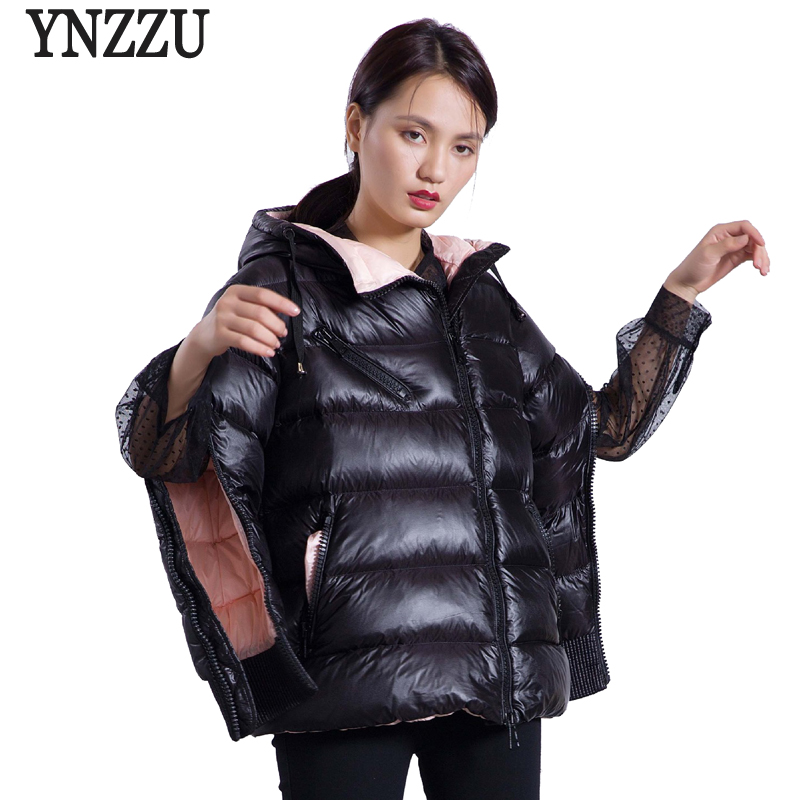YNZZU Brand 2018 Autumn Winter Jacket Women Casual Thick Warm Duck   Down     Coats   Hooded Sleeve Split Zippers Fashion Outwears O601