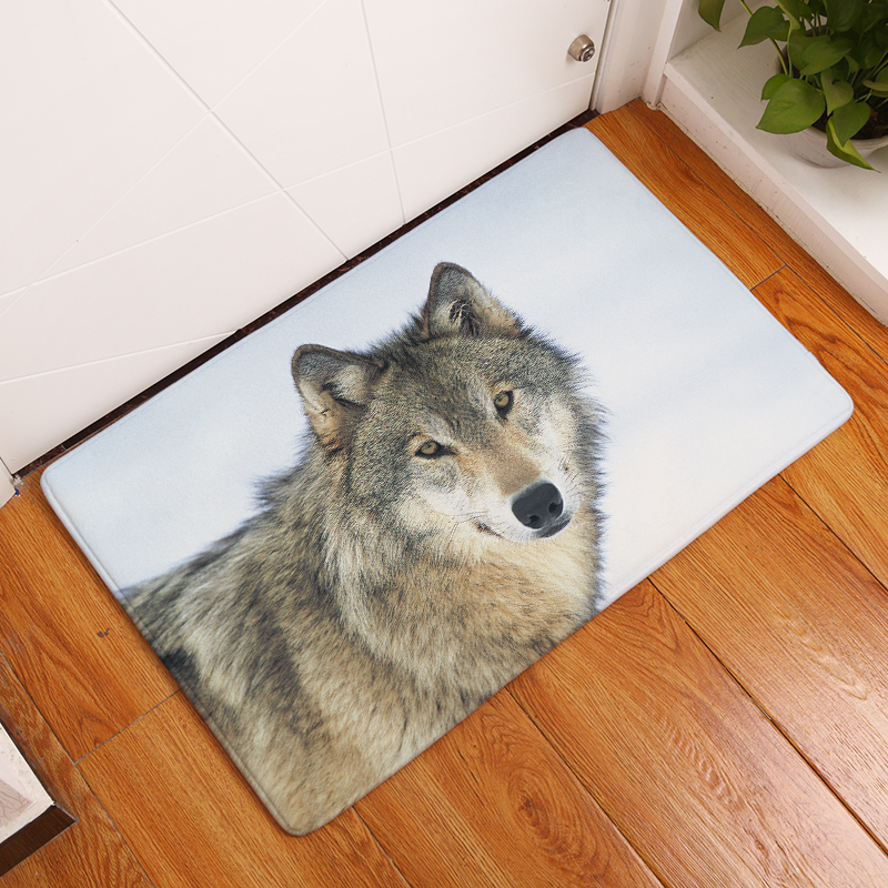 Nya dörrmatta mattor Wolf Skriv ut Mats.Floor Kök Badrum Mattor 40X60 50X80cm Anti-Slip Esteras