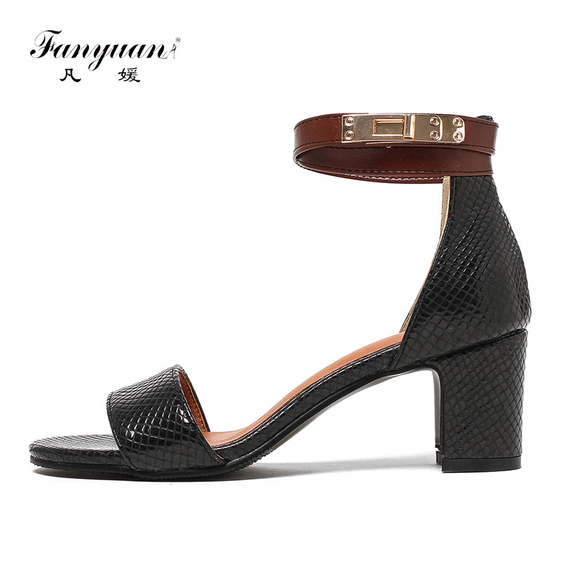 Fanyuan Custom women Sandals 2018 stylish Mixed color Buckle strap sexy Peep toe high Block heel Party lady Summer shoes sapatoFanyuan Custom women Sandals 2018 stylish Mixed color Buckle strap sexy Peep toe high Block heel Party lady Summer shoes sapato