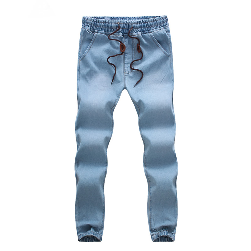 ФОТО Fashion Winter Male Pants Plus Size Denim Mens Jeans slim straight Elastic waist Designer blue Regular Biker Jeans Overalls