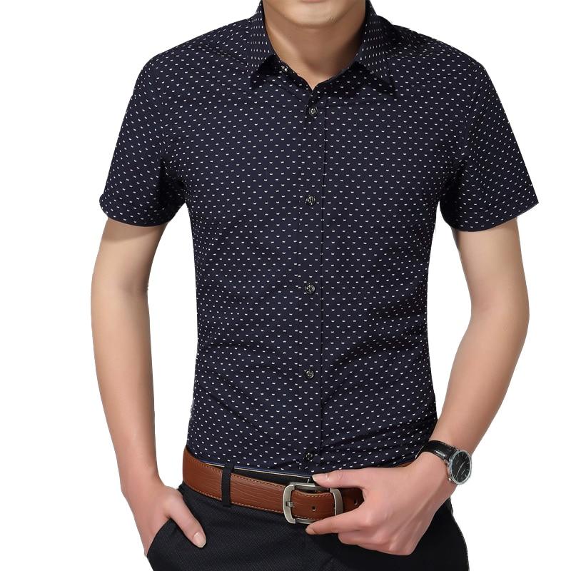 Hot 2019 Summer New Fashion Brand Clothing Men Short Sleeve Shirt Polka Dot Slim Fit Shirt 100% Cotton Casual Shirts Men M-5XL