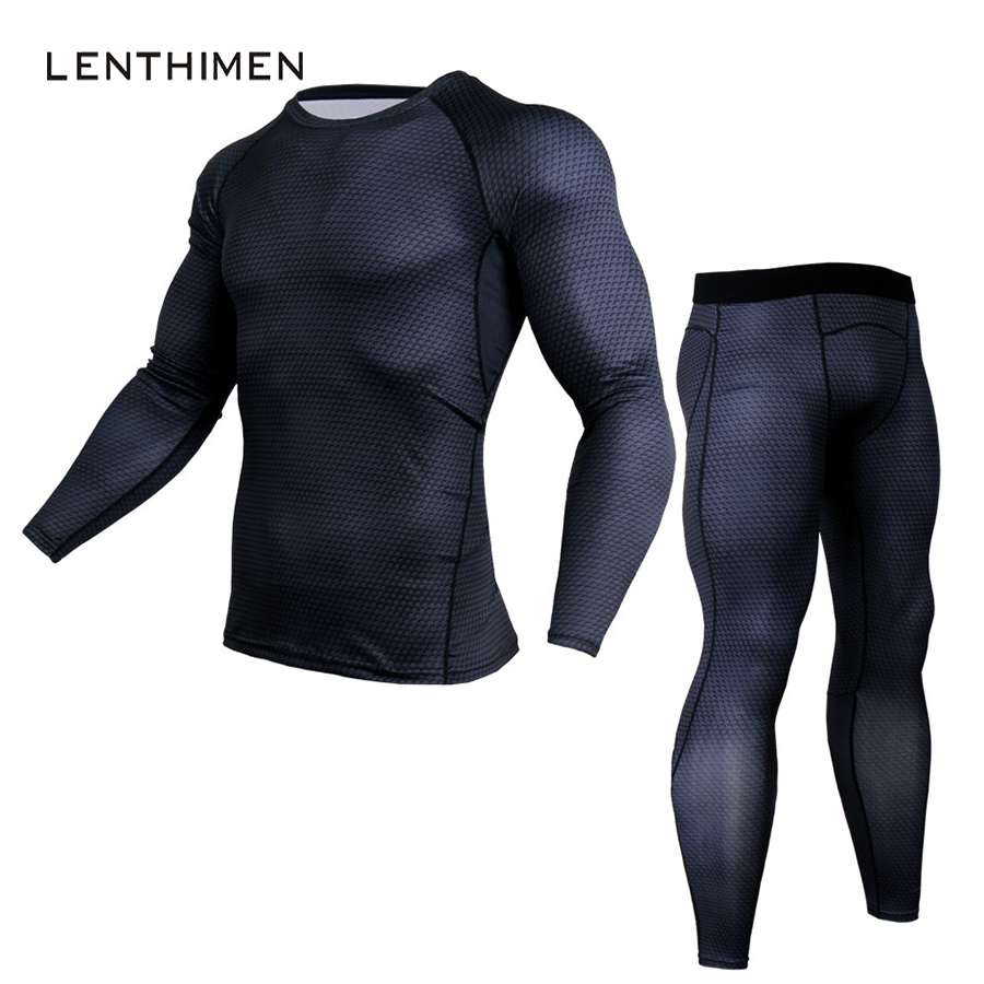 LENTHIMEN 2018 Crossfit Sportswear Sets Men 2 Piece Suits Comopression Shirt Fitness 3D T Shirt Tight Bodybuilding Tracksuit MMA