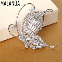 MALANDA Brand Exclusive AAAA Zircon Brooch Silver Color Lovely Butterfly Brooches For Women New Fashion Jewelry