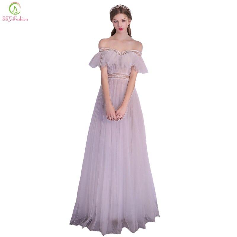 SSYFashion новое вечернее платье невесты белый Лодка шеи до пола Бисер пляжные вечерние платье Пром торжественное платье; Robe De вечер