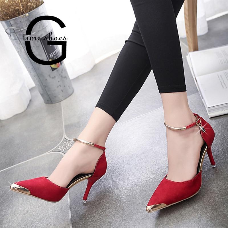 Gtime Sexy Stiletto Pumps Dames Suède Hoge Hakken OL Werkschoenen Puntige Enkel Gesp Riem Zapatos Mujer Dames Trouwschoenen S79