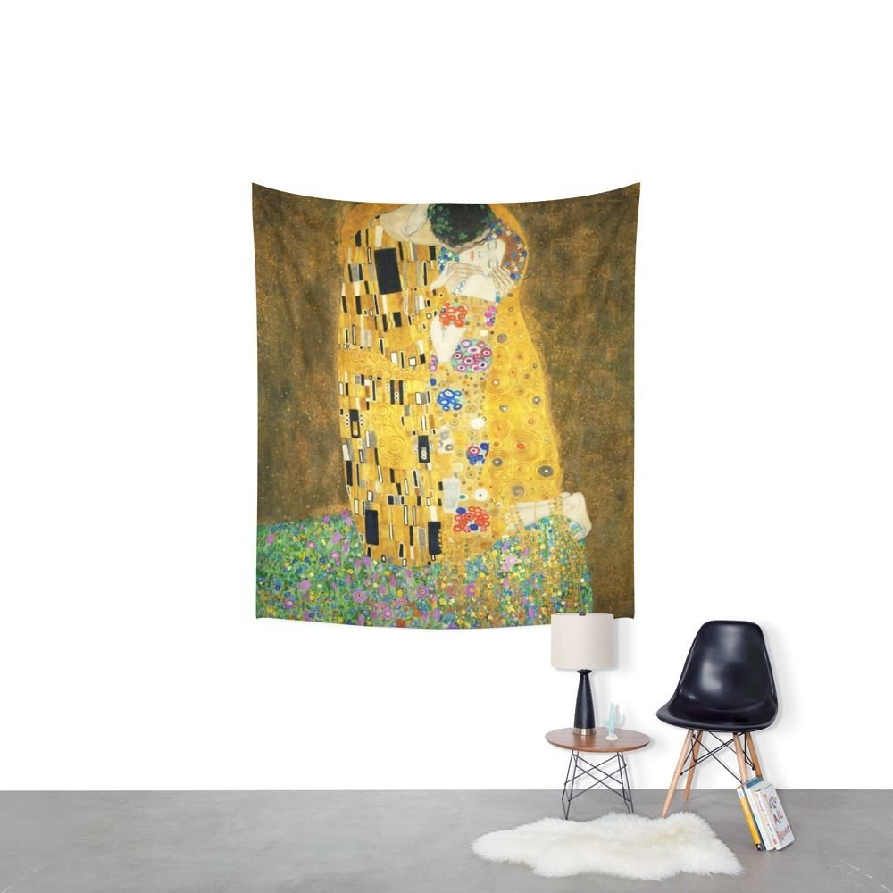 Gustav Klimt The Kiss Wall Tapestry Fabric Wall Hanging Tapestry ...
