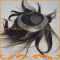 Бесплатная доставка 6*7 дюймов шелковый топ с ПУ вокруг 1B цвет естественный Индийские волосы парики мужские системы волос топ закрытие парик