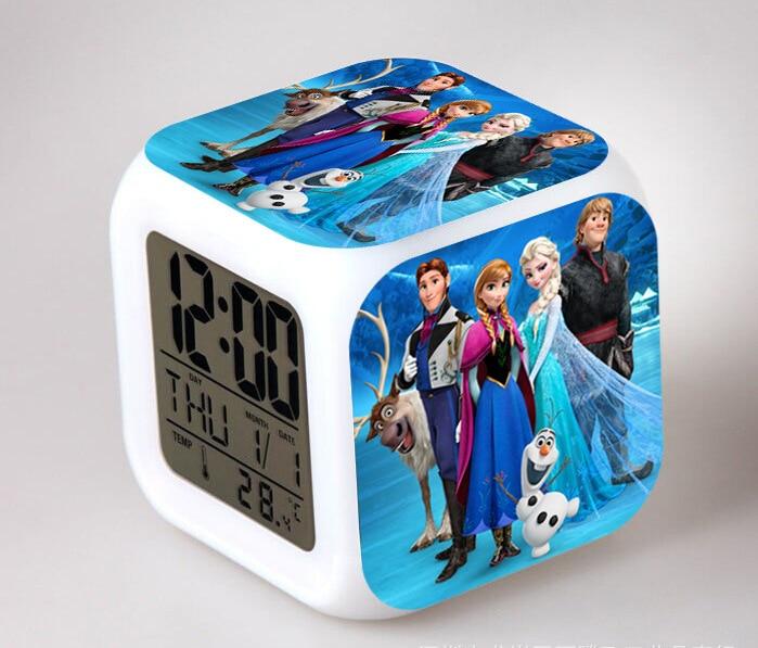 Hot Movie New Snow Queen Princess Anna&Elsa Snowman Olaf LED Flash Chaging Digital Alarm Clocks Kids Bedroom Night Light Clocks