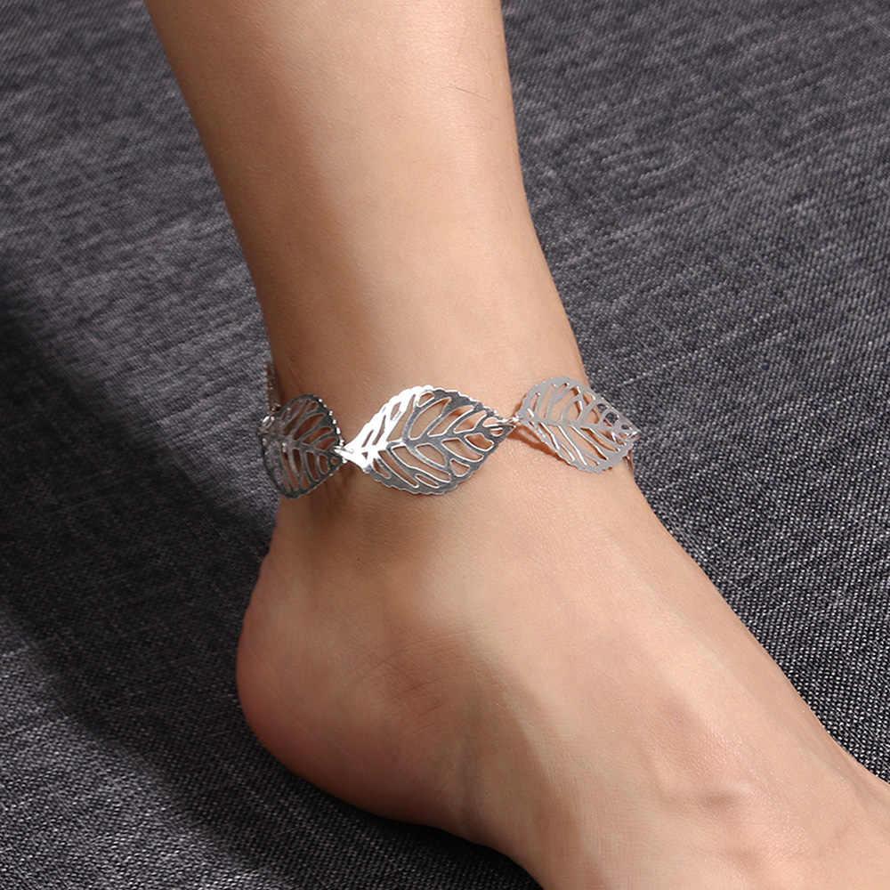 2017 новейшие модные женские листья полые браслеты на ногу пляжные Сандалеты ножной браслет ювелирные изделия хороший подарок летние ножные браслеты ювелирные изделия