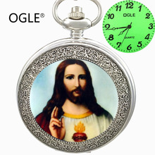 OGLE Pieza Jesus Cruz de Plata Collar de Cadena Colgante Luminoso Analógico Para Hombre de Señora Women Estudiante Calendario Japón Fob de Cuarzo Caja de Reloj