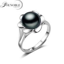 Real flower ring silver 925,white black natural freshwater pearl ring adjustable