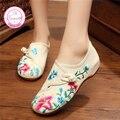 Morning glory Ткань Обувь Китайский Стиль Тотем Квартиры Мэри Джейн Вышивка Повседневная Женская Обувь Квартир Женщин