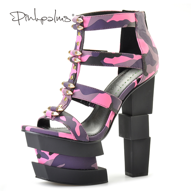 Pink Palms summer women shoes high heels wedge sandals fuchsia camouflage bullet decoration sexy punk party sandals floral decoration vocation sandals in pink