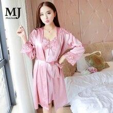 X029 MaiJee Nighties For Women Night Wear Sexy Nightwear 3Pic Silk Pajamas Pijama Pyjama Femme  Combinaison Pigiama Lace