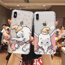 Cute Elephant Fashion Emboss Phone Case For iphone XS MAX XR X 6 6s 7 8 Plus Lovely Cartoon Dumbo Clear Soft TPU Back Cover