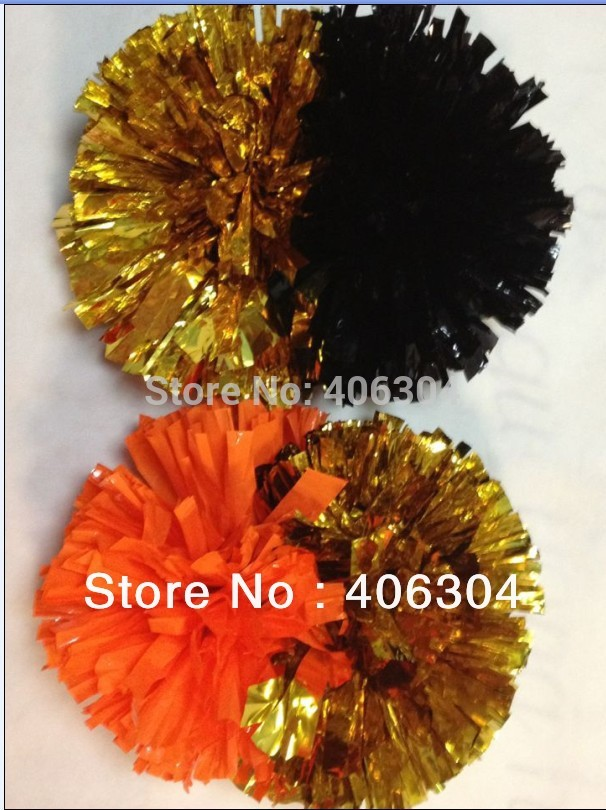 130g fadeless two sides colors Cheering pompom with baton handle Metallic Pom Pom Cheerleading products Professional ballroom