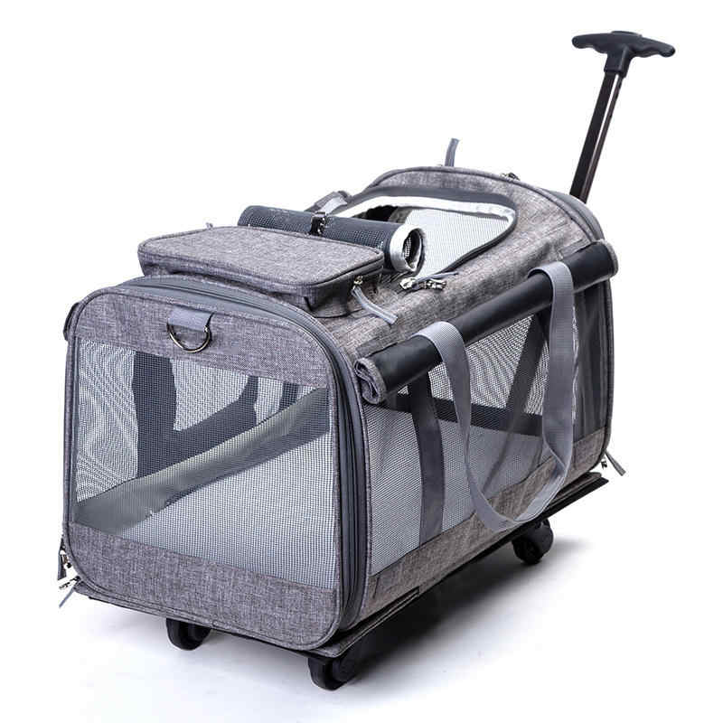 Foldable Big Dog Cat Breathable Rolling Luggage Oxford Suitcase Wheel Moving Kennel Carry on Trolley Pets Travel Bag on wheel