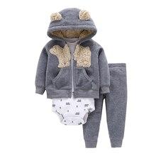 Karikatür ayı bebek erkek kız giysileri polar uzun kollu kapüşonlu ceket + bodysuit + pantolon yenidoğan seti 2019 kıyafet bebek giyim takım elbise