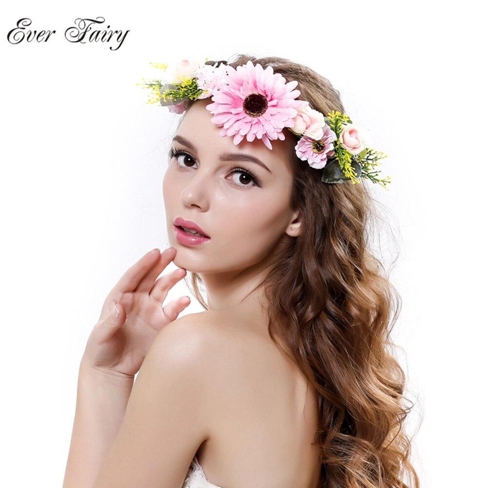 EVER FAIRY New Woman handmade Sunflower Flower Crown Garland Wedding Festival floral head Wreath Girls Bohemian