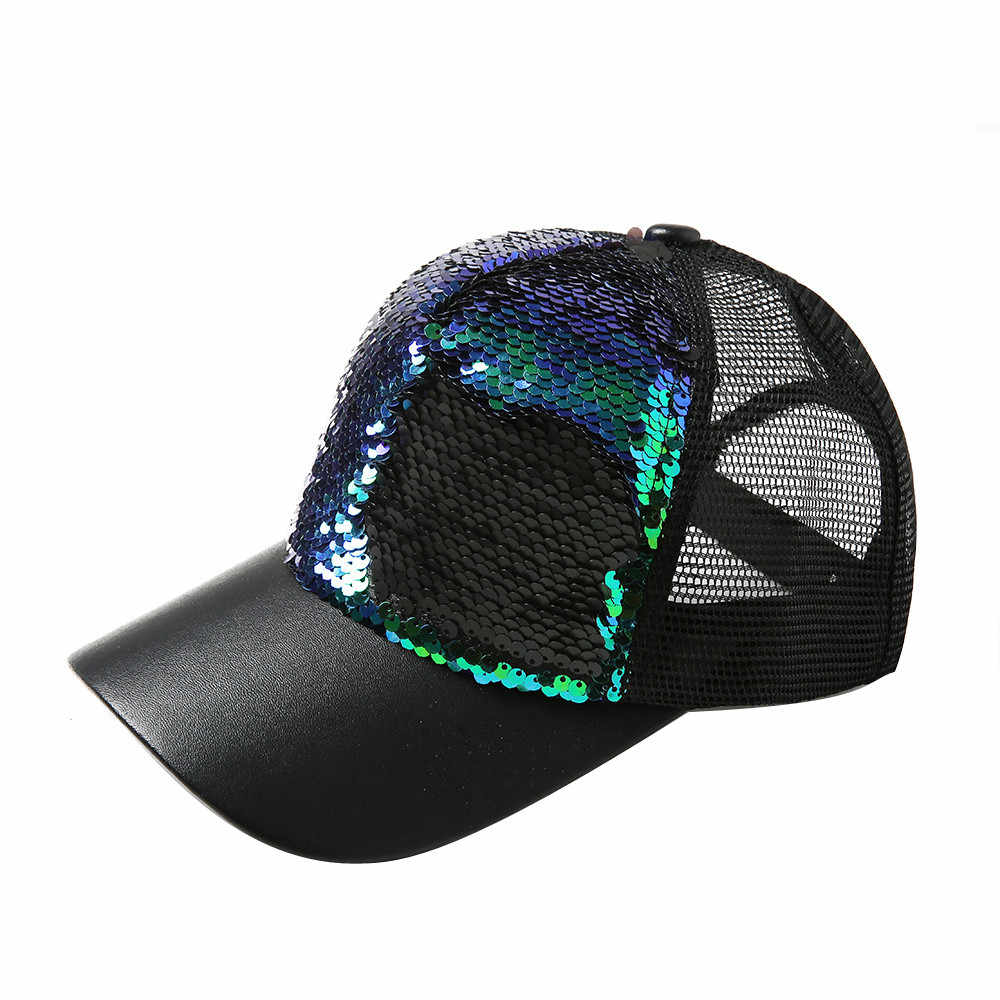 Erkekler kadınlar beyzbol şapkası payetler nefes Snapback moda şapka Unisex ayarlanabilir hip-hop güneş koruma Streetwear kap casquette