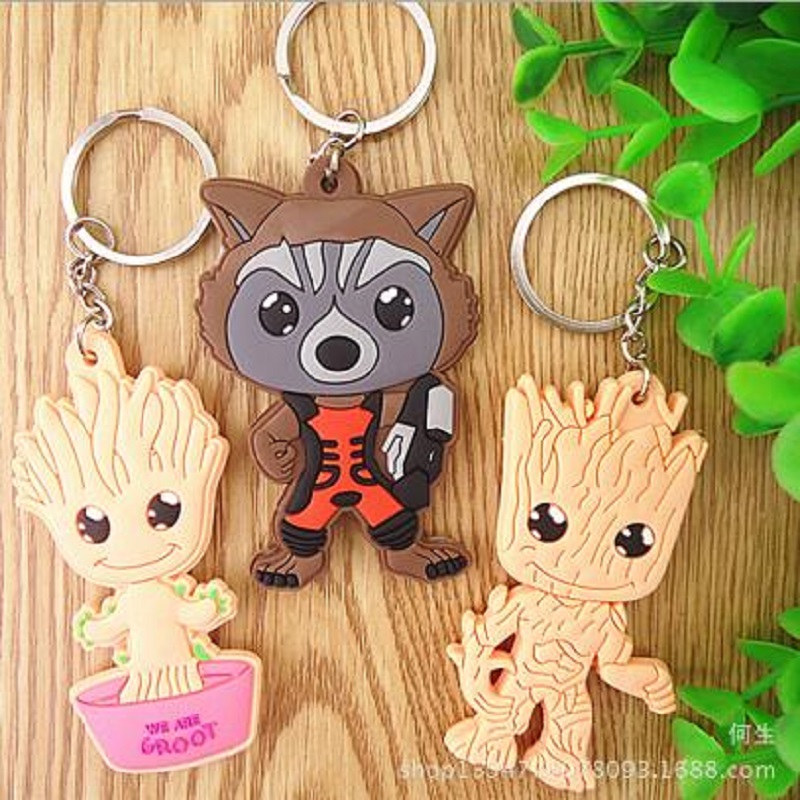 Tree Men Movie Grootted Doll Phoneholder Grunt Guardians of Galaxy Vol 2 Man Figuras Brinquedos Keychain Key Bag