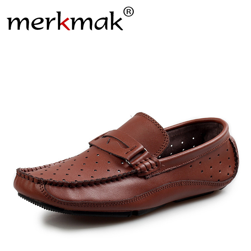 Merkmak Summer Breathable Men Loafers Handmade Moccasins Genuine Leather Casual Shoes Slip On Flats Mens Driving Shoes Big Size british slip on men loafers genuine leather men shoes luxury brand soft boat driving shoes comfortable men flats moccasins 2a