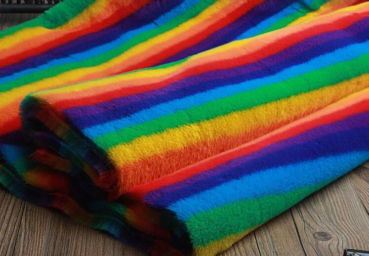 Rex lapin cheveux arc-en-ciel doux tapis en peluche laine tissu pour manteau textiles à la main patch Jacquard épais tecido sequin tissu A339 - 2