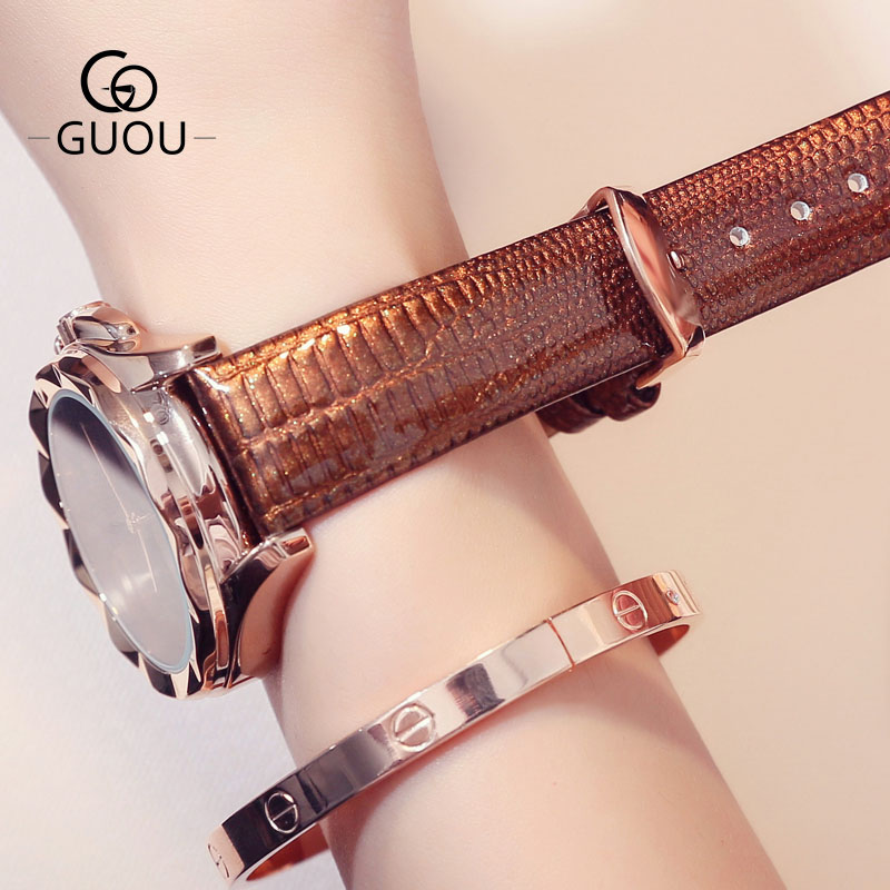 GUOU New Design Dress Horloges Dames Echt lederen Horlogeband Quartz - Dameshorloges - Foto 5