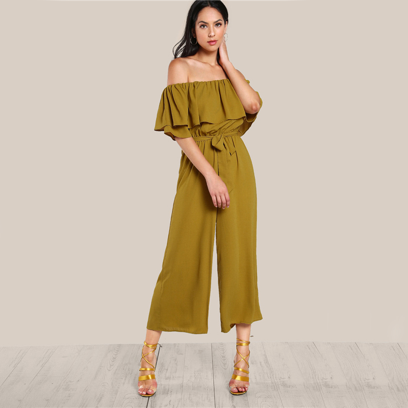 COLROVIE Sexy Flounce Culotte Jumpsuit Women Off Shoulder Self Tie Yellow Jumpsuits 2017 New Ruffle Half Sleeve Elegant Jumpsuit 8