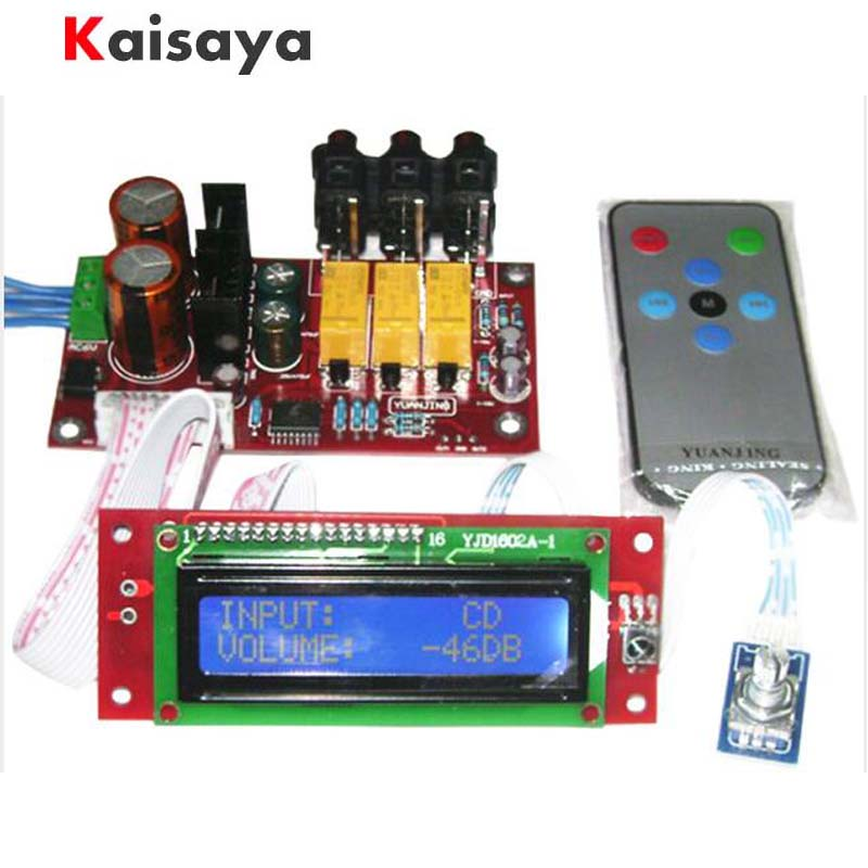 PGA2311 Audio Volume Stereo HIFI Pre amplifier Preamp Board with Remote Control LCD Display cs3310 remote preamplifier board with vfd display 4 way input hifi preamp remote control digital volume control board