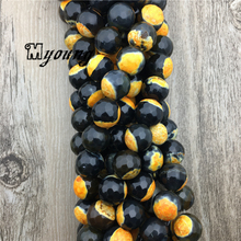 Fashion Faceted Black And Yellow Fire Agates Beads, Round Loose Wholesale Bracelet Making Accessories, MY1632