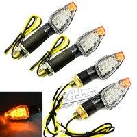 4 PCS Universale Del Motociclo In Fibra di Carbonio Custodia Lens giallo 14 LED Indicatori di direzione A LED Luci Indicatori Lampeggiatori Per Kawasaki