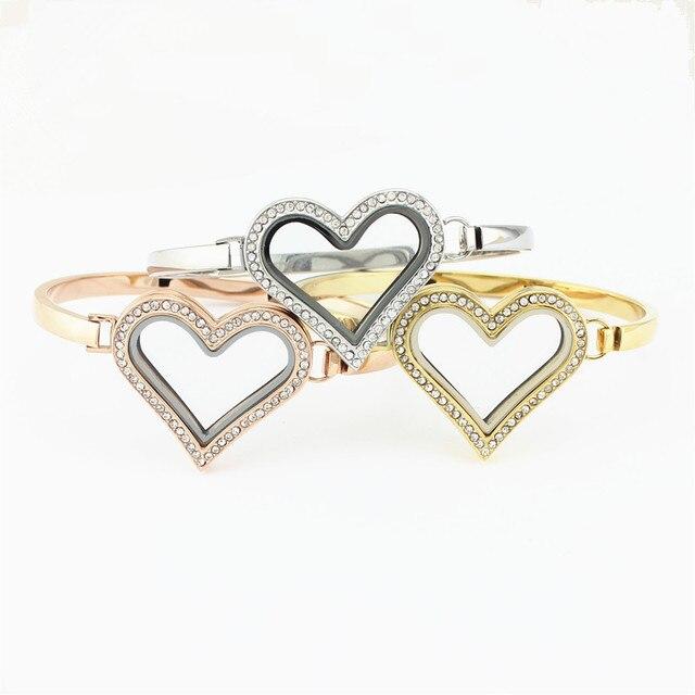 3pcs Silver Gold Rose Bangle Bracelet With Crystal Heart Magnetic Gl Living Floating Charm Locket