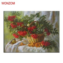 Fruit Basket Painting By Numbers On Canvas DIY HandPainted Unframed Pictures For Home Decor Christmas Gift Coloring By Numbers