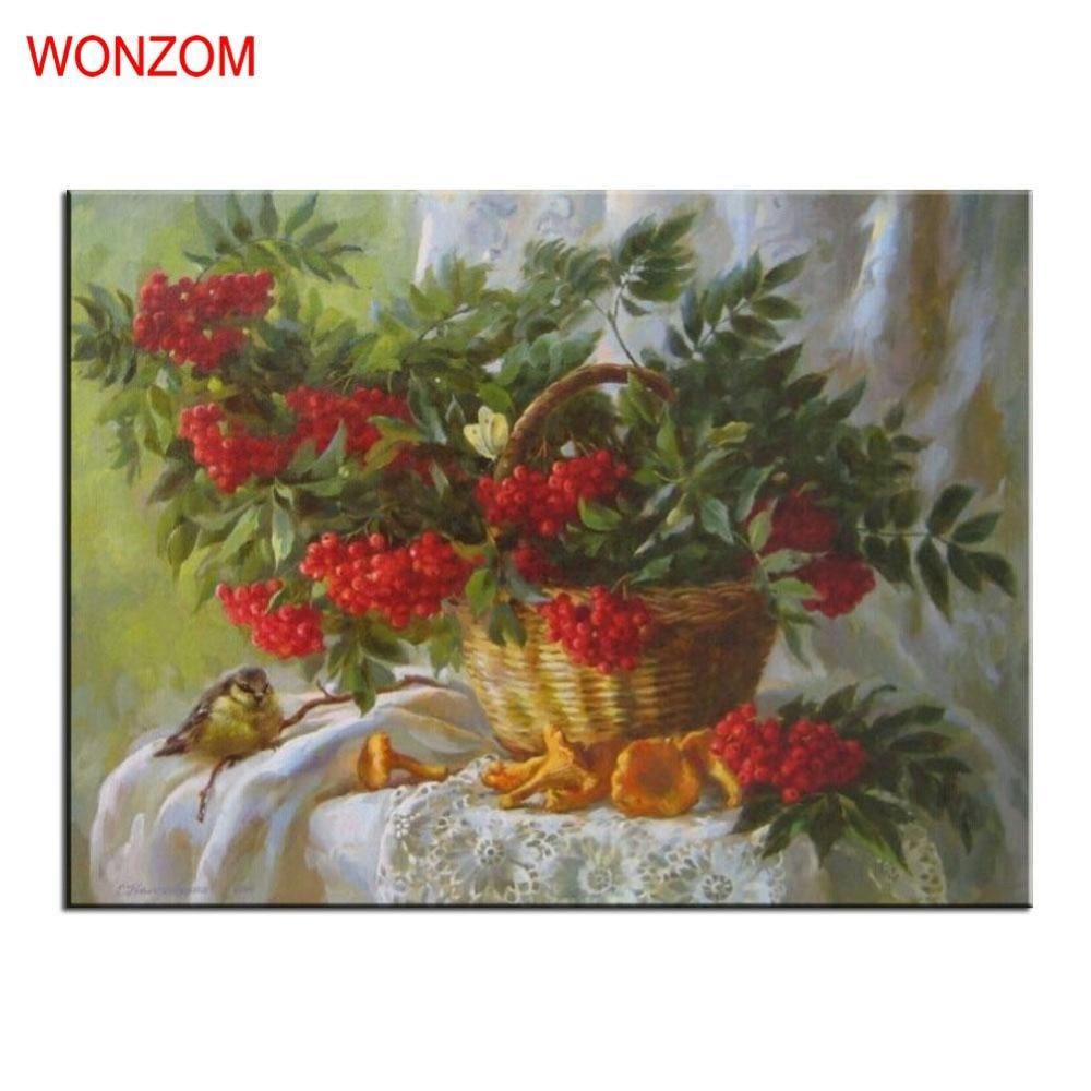 Keranjang Buah Lukisan Dengan Angka Di Atas Kanvas DIY Handpainted Tidk Gambar Untuk Home Decor Natal Hadiah Mewarnai Dengan Angka