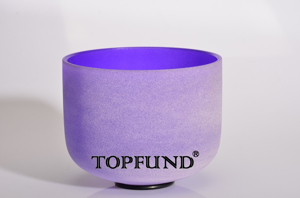 ФОТО Purple Color B Crown Chakra Frosted Quartz Crystal Singing Bowl 8
