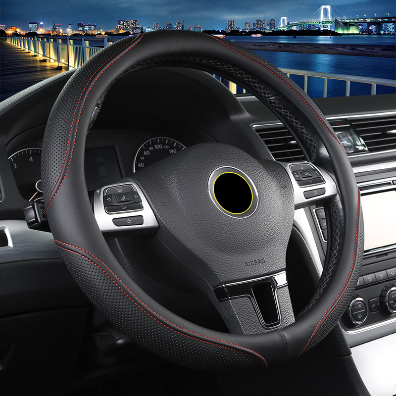 New PU Leather Car Steering Wheel Covers Four Seasons Auto Steering Wheel Hubs For All Car Styling VW GOLF 7 2015 POLO JATTA