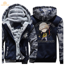 2019 Winter Hot Sale Warm Men's Sweatshirt Japan Anime One piece Luffy Trafalgar Law Fashion Thick Hoodies Loose Fit Jacket Men