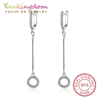 Yunkingdom 100 925 Sterling Silver Long Rhinestone Earrings Luxury Brand Earrings For Women Wedding Jewelry Brincos