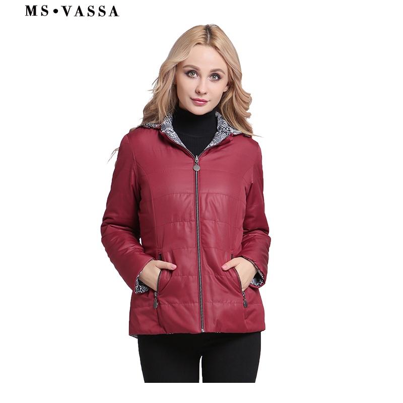 MS VASSA Women Jackets Spring 2019 New Ladies   Parkas   with hood reversible leo print Coats plus size 6XL 7XL female outerwear