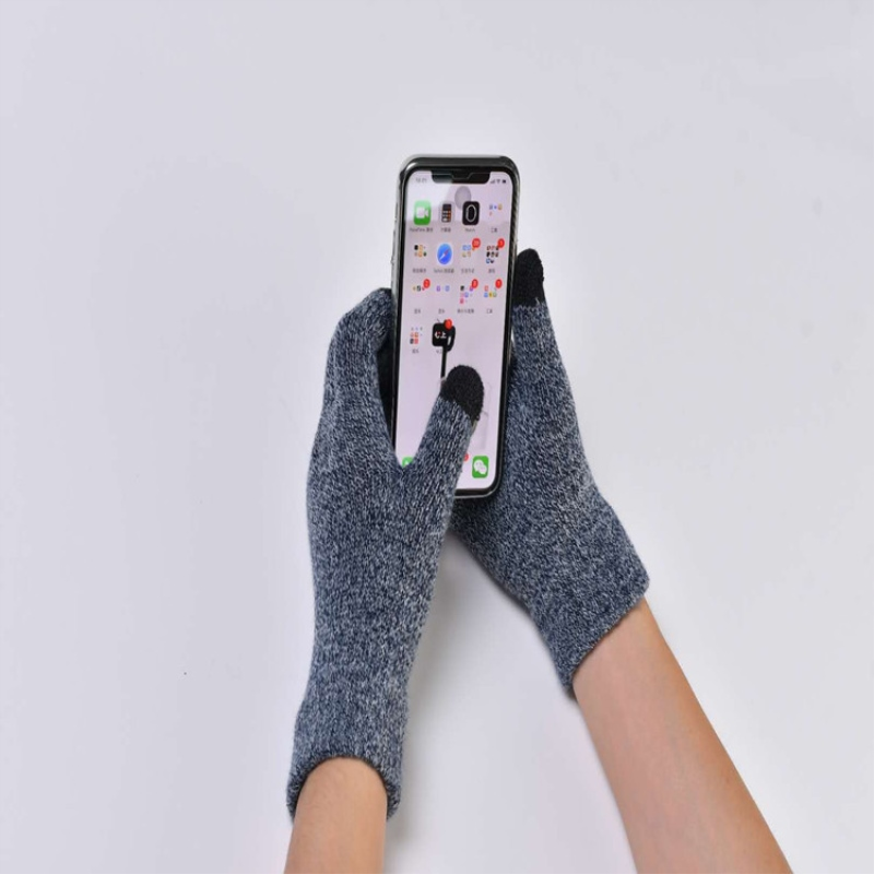 One Pair Men Knitted Gloves Touch Screen Male Thicken Winter Warm Solid Gloves
