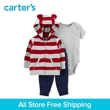 3pcs soft cotton stripes 3D ears hood jacket set Carter's baby boy spring autumn clothing 121I903
