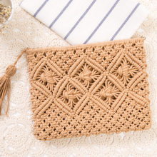 Straw Bag Bohemian Rattan Clutch Bags For Women 2018 Crochet Fringed Beach Bag Lady Purse Handmade Weaving Flap Handbag Bolsa(China)