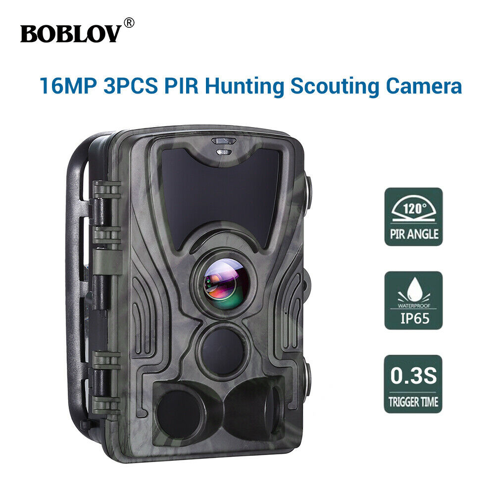 HC801A 16MP 1080P 3xPIR 0.3S Waterproof Night Vision Wildlife Game Trail Camera Scouting CAM