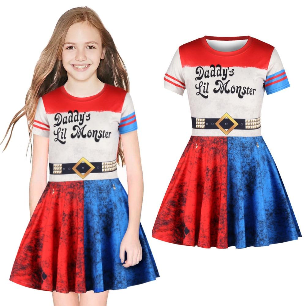 Fantasy Carnival Cosplay Suicide Squad Harley Quinn Costume Dress Girl Uniform Children Girls Kids Clown Dress Princess Dresses
